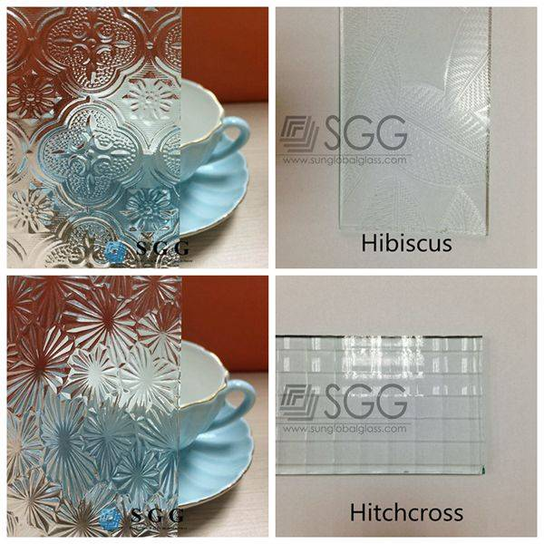 4mm 5mm 6mm Flora Flor Hibiscus Hitchcross Clear patterned glass