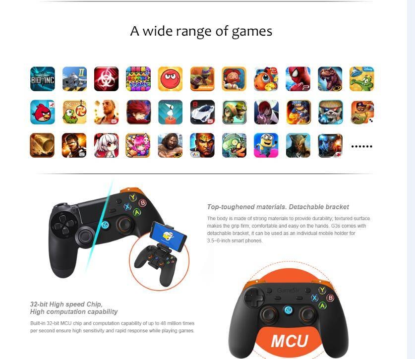 Bluetooth & 2.4G Game Controller, Have 3 Connection Way and Compatible with 4 Platforms