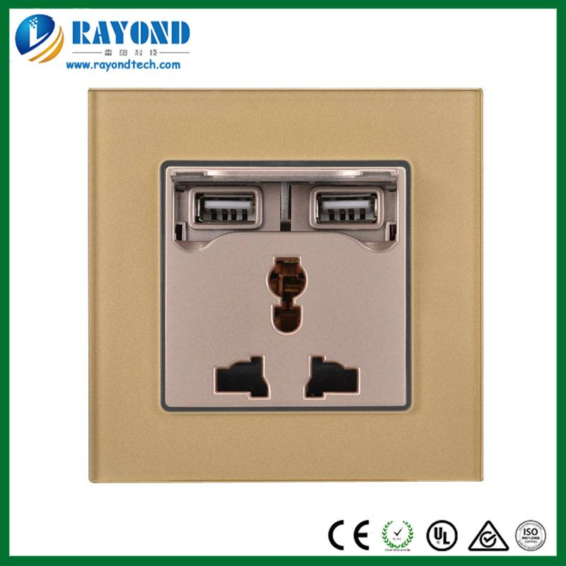 Golden Crystal Glass Wall Plate Multi-Standard 3-Pin Power Socket with 5V/2.1A USB Charging Adapter