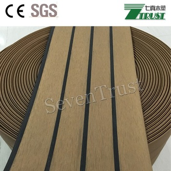 China manufacturer synthetic PVC teak decking for boat,long warranty with low maintenance