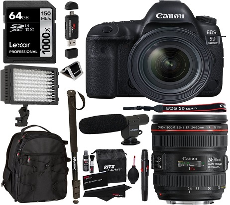 5-D Mark IV Full Frame SLR Camera Video Kit + EF 24-70mm f/4L IS USM Lens, Lexar 64GB Memory Card