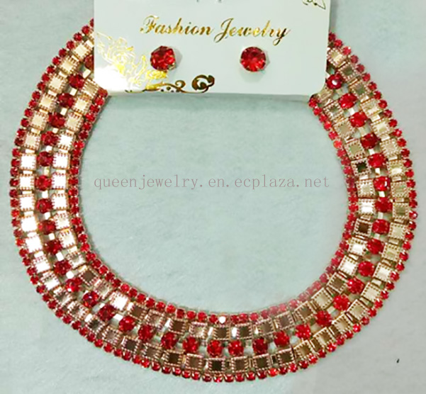 Paparazzi accessories Wholesale Necklace Earring Party Wedding Rhinestone 18 k Gold plated chaplet
