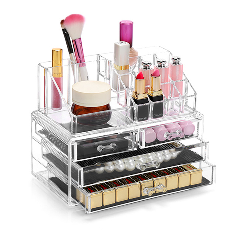 Acrylic Makeup Organizer Jewelry Display Two Pieces Set Cosmetic Holder