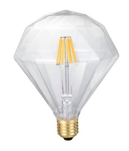 china supplier New products Polyhedral reflector amber/clear glass E27 8w 220V Globe G125 led filame