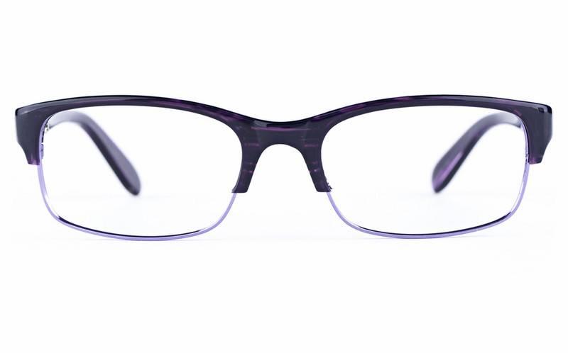 Purple 0901 Semi-rimless Oval Metal-Stainless Steel/ZYL Glasses