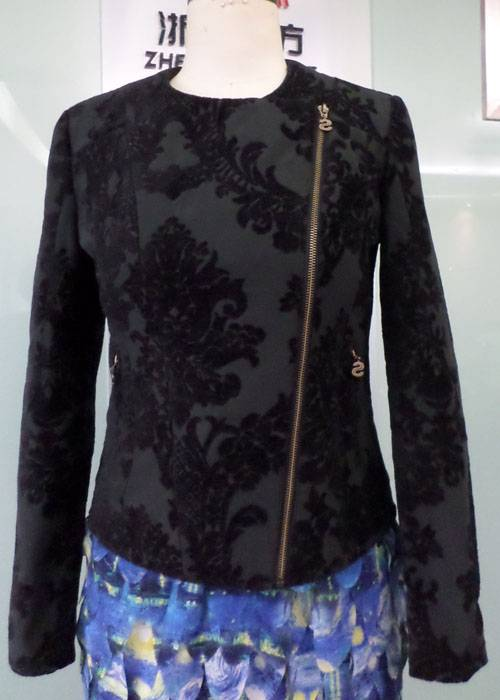 Ladies Cotton/Polyester Jacquard Zipper Jacket