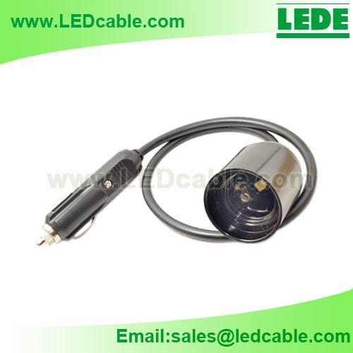 Car cigarette light plug to E27 Socket Adapter Cable