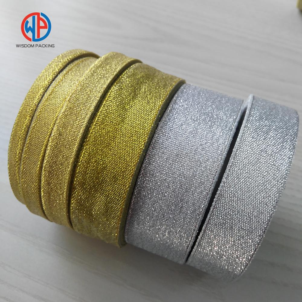 Wholesale gold/sliver metallic polyester glitter ribbon