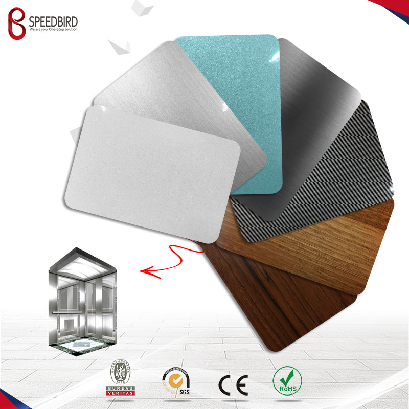 PVC film laminated galvanized steel decorated elevator metal sheet