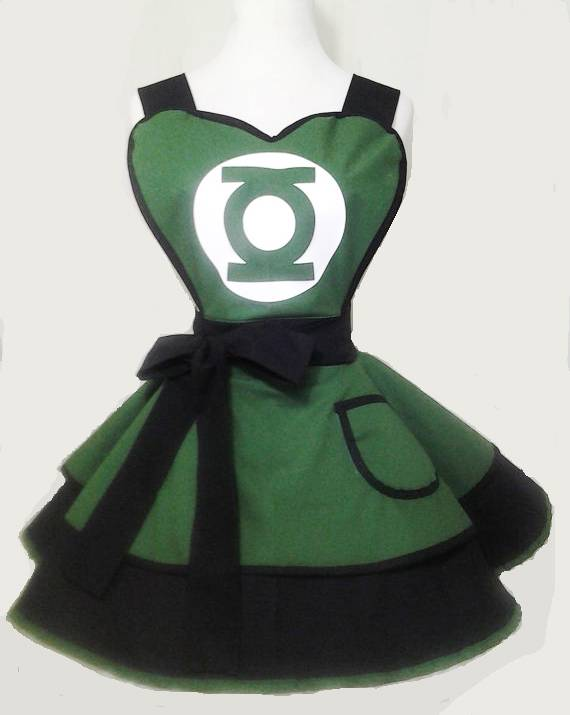 Super Hero Justice league Green Lantern 100% cotton sexy woman cosplay retro apron