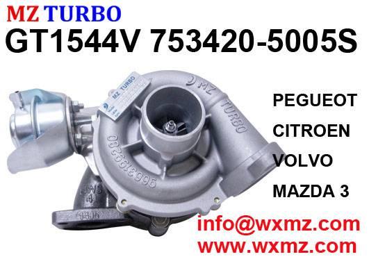 MZ TURBO GT1544V 753420-5005s turbocharger suit for PEGUEOT, CITROEN, VOLVO, MAZDA 3