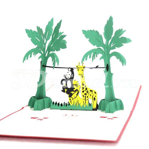 Happy Forest-Kirigami-Laser cut-Paper cutting-Pop up-3D-Birthday card