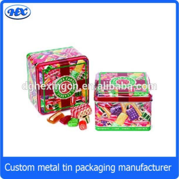 Christmas square candy box tin, square candy tin, square candy tin box