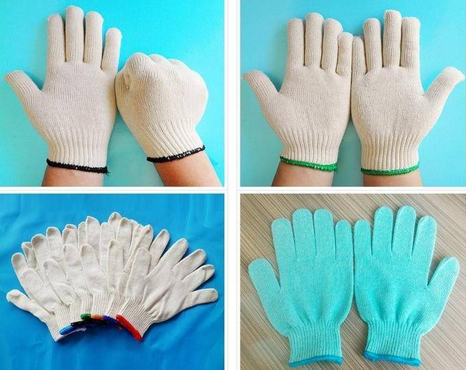 HOT SALE Cheap White Cotton Knitted Glove With Blue Cuff Cotton Work Gloves