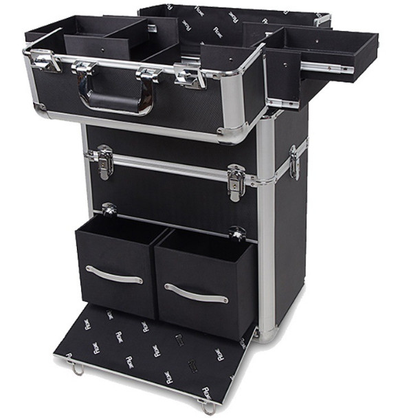 Makeup Trolley Beauty Case Vanity Nail with Wheels/Aluminum Jewelry Case Makeup Case with Drawers