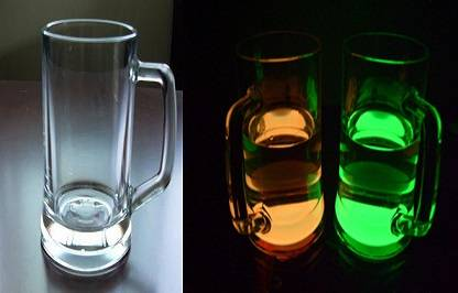 luminous glass cup with handle