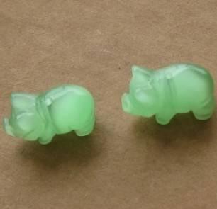 fiber optic glass carvings animal pig beads