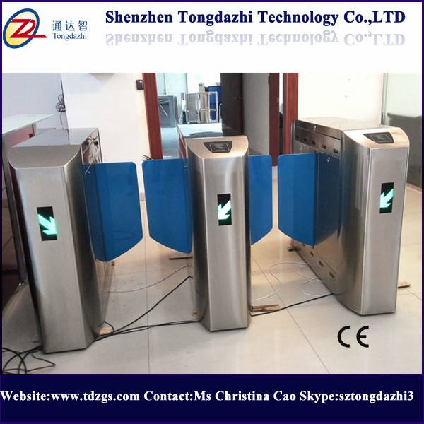 Security sliding turnstile with fingerprint time attendance system
