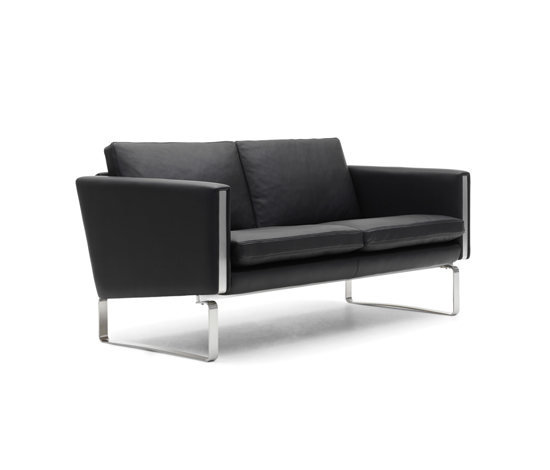 CH_102 aniline leather 2 seats sofa with stainless base