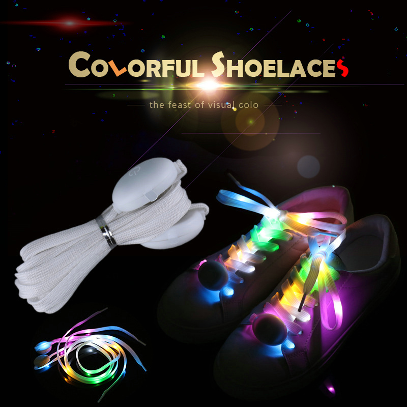 Novelty Color LED Flash Light Shoelaces Shiny Sports Shoes Woven Laces Disco Party Boys Girls