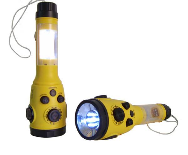 Dynamo LED Flash Light with Weather Radio Can connect with car charger jack