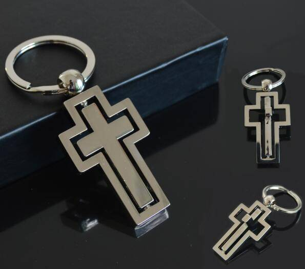 Religious Souvenir Gift Metal Rotate Cross Shape Keychain