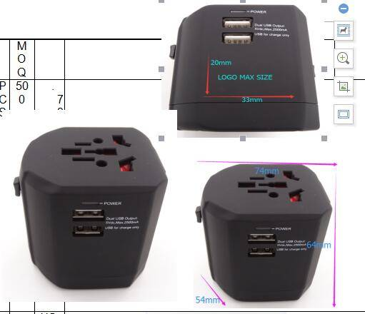 PC with rubber oil plating travel adapter