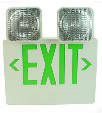green Letters Combo LED Exit Emergency Light Standard Type Red LED Color