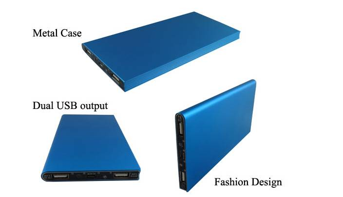 Metal Case Fashion Power Bank Chargers 2 USB Output