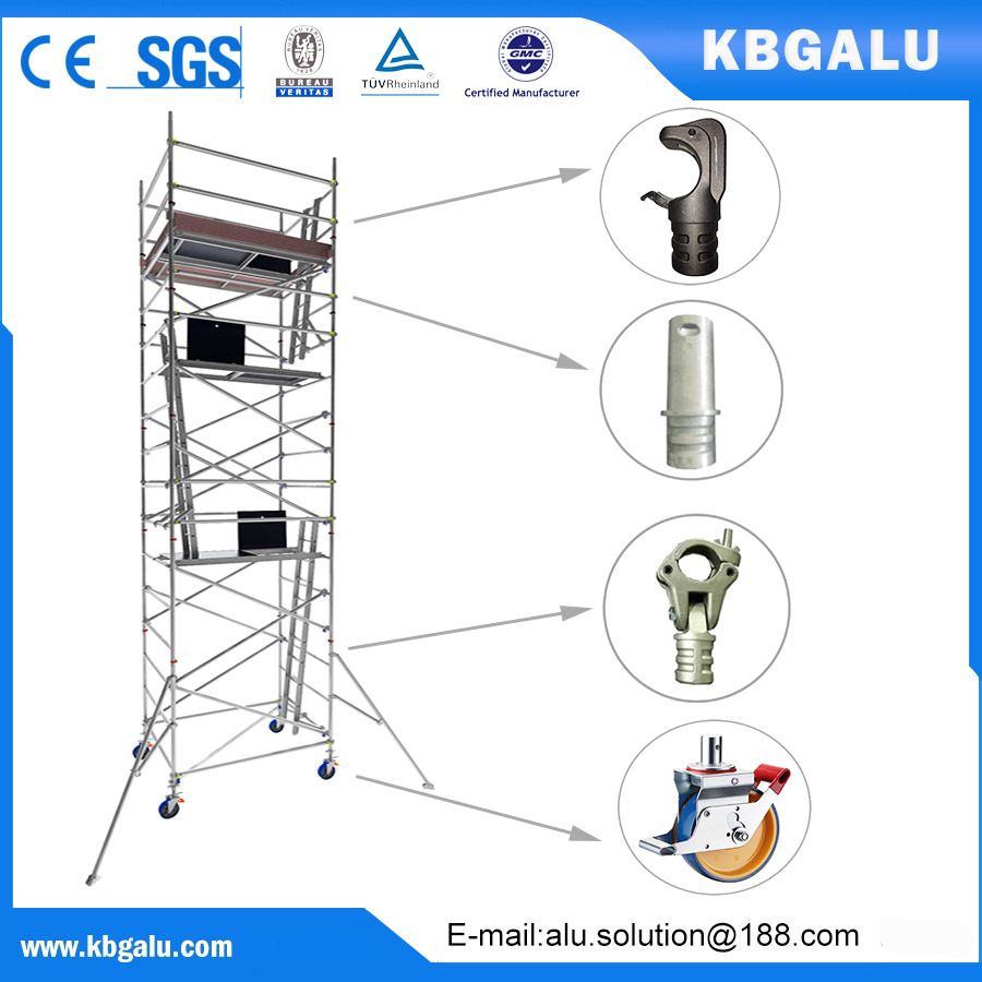 double width aluminum scaffold tower with 7.0m standing height
