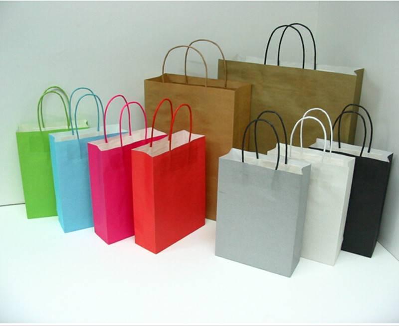 Luxury folding kraft paper bag twisited handle paper bag