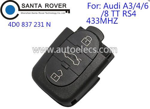 For Audi 4D0 837 231N Car Remote Control Key 3 Button 433Mhz