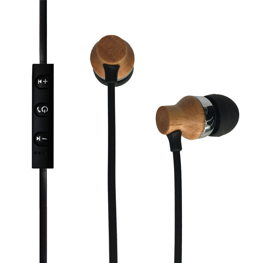 Factory Supply New Cool HD Sound Stereo V5.0 Wooden Bluetooth Earbuds