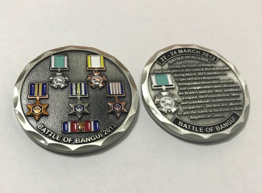 Custom Military Antique Silver 3D Metal Soft Enamel Challenge Souvenir Coin