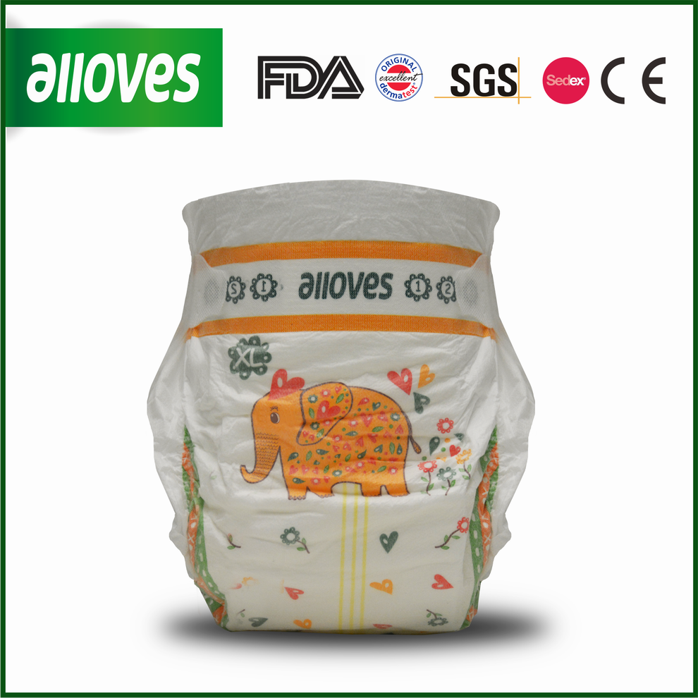 Alloves Baby disposable diapers comfortable&thin diapers cute design elephant printed-Size XL
