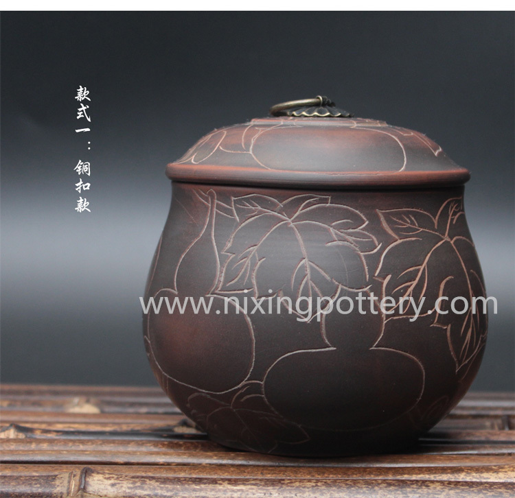 Nixing Pottery Vintage Tea Caddy Handmade Clay Tea Canister