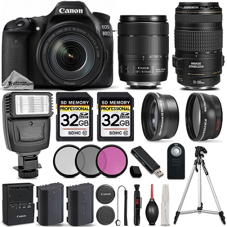 80D-WiFi Full HD 1080P Digital SLR Camera + 18-135mm IS USM Lens + 70-300mm IS USM Lens + Flash All