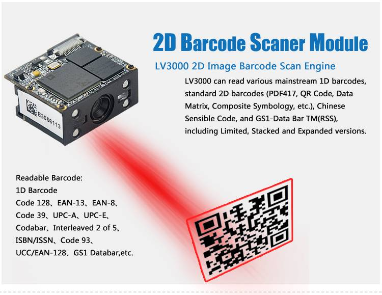 CE Rohs 3.3V RS232 TTL LV3000  pos barcode reader
