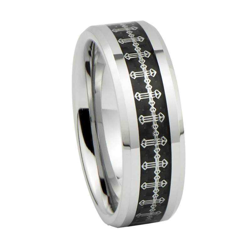 2014 Fashion Jewelry, Silver Catholic Crucifix Pattern Inlay Tungsten Carbide Wedding Rings