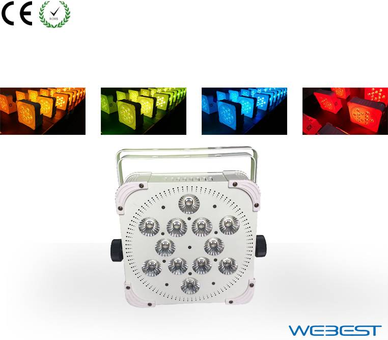 Wireless DMX 12 lens 5W RGBWA 5in1 LED Slim Par