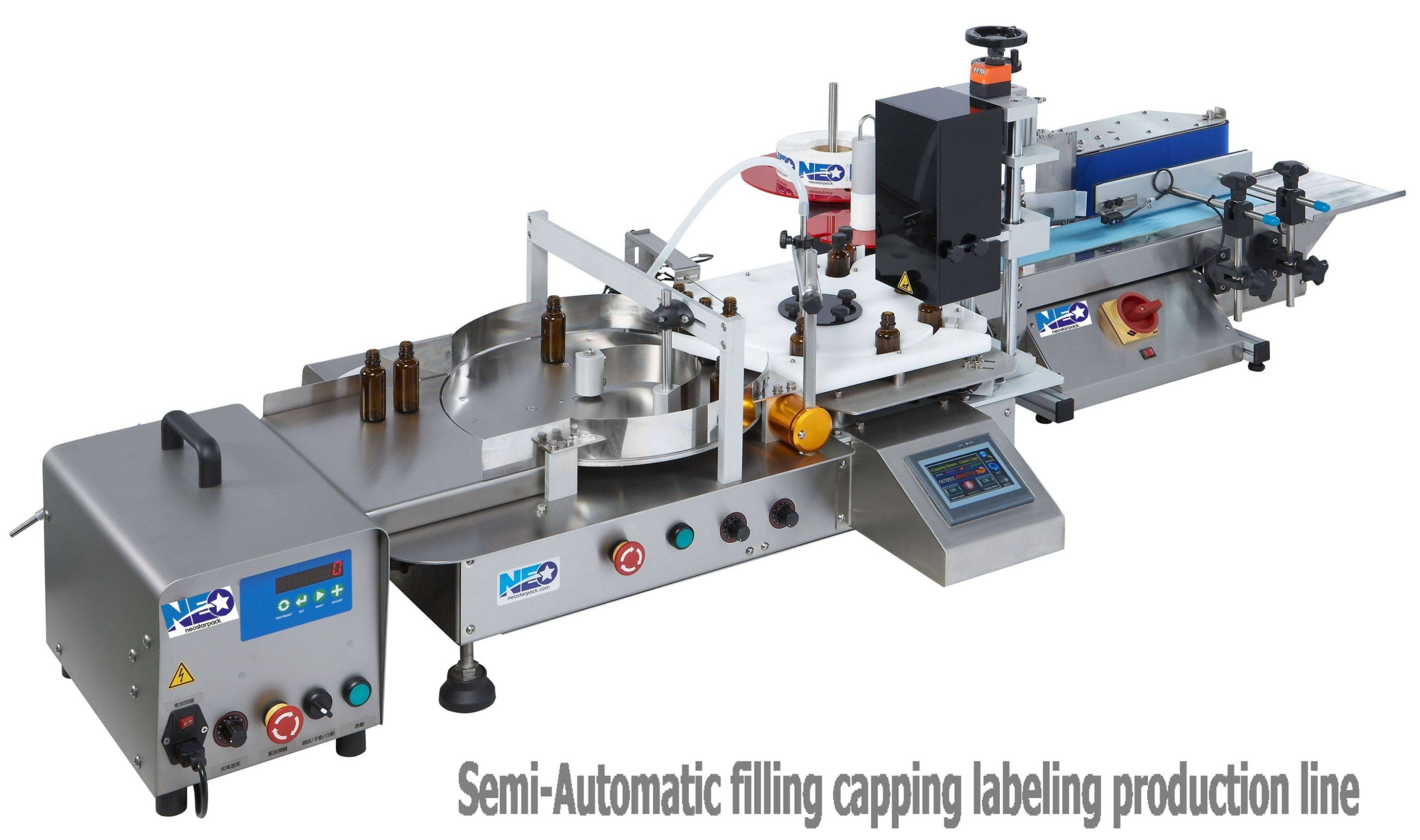 Semi-automatic Filler Capper Labeler Line