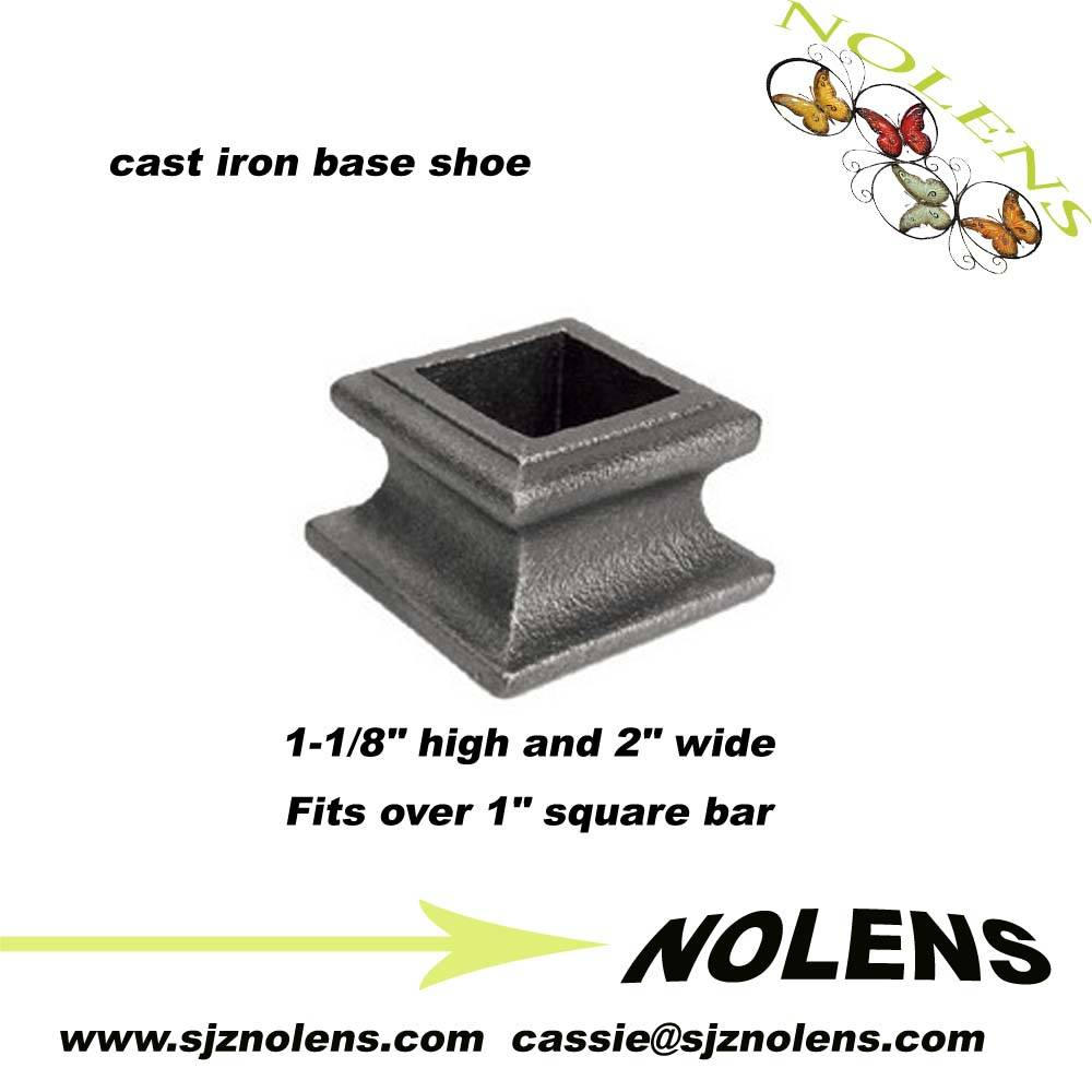 "decorative iron fence ornaments/Cast Iron Base Shoe for 1"" Square Bar"