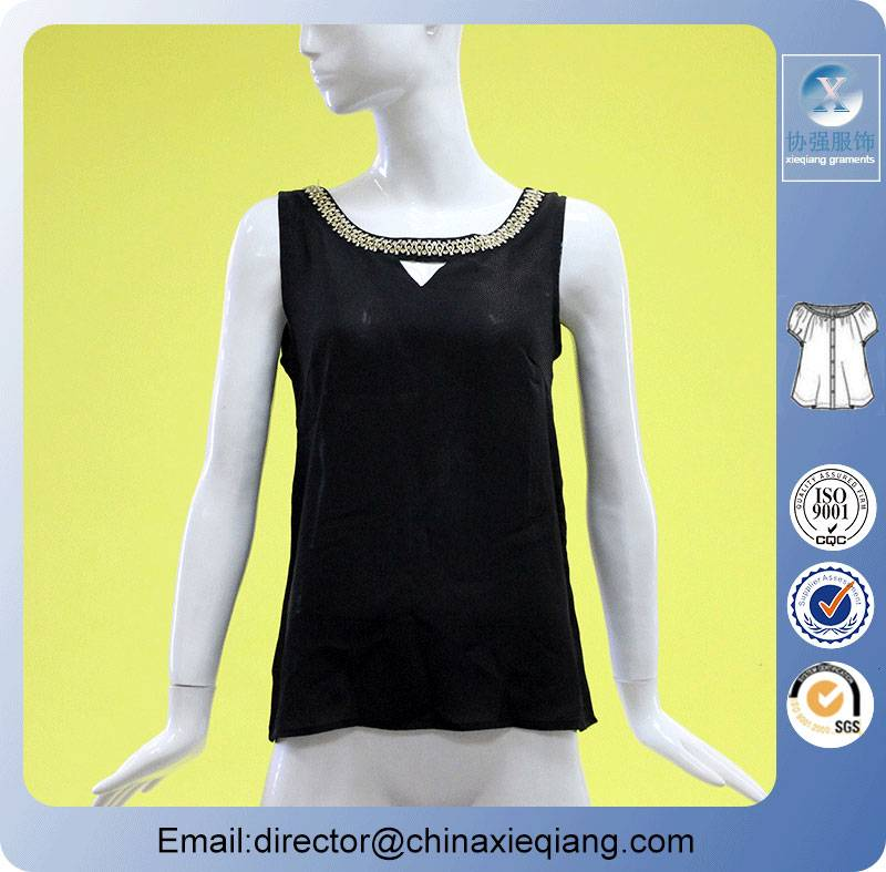 New arrivals ladies sexy csystal beaded black tops
