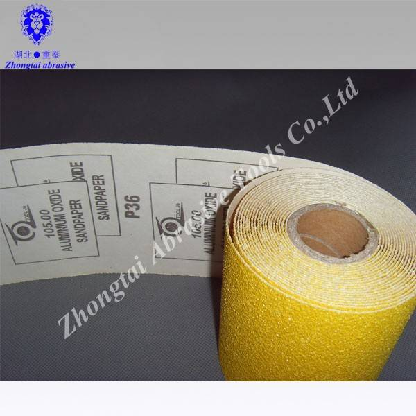 Yellow sand paper roll,D-weight paper,white corundum