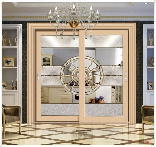 High quality aluminum frosted safety glass sliding door kitchen