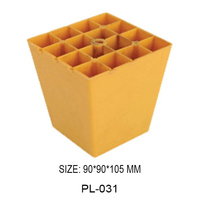 50mm high yellow furniture leg injection plastic trapezoidal frame sofa leg