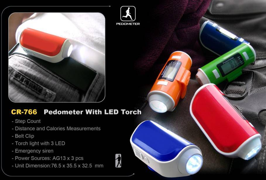 Pedometer with led torch, step ,distance and calorie count