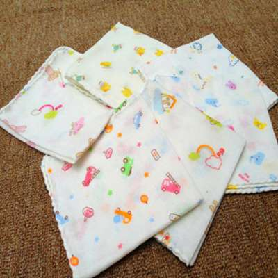 8 pcs/Lot baby bath towels cotton chiffon flower printing new baby towels soft water absorption baby