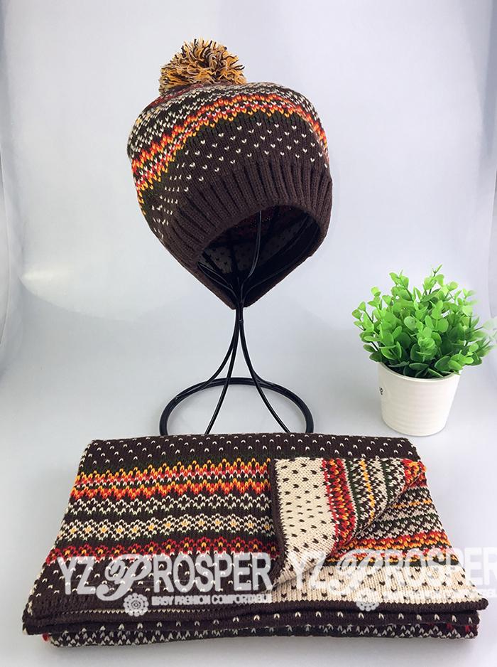 Hat&Scarf Set,Jacquard Beanie,Jacquard Scarf,Knit Beanie,Knit Scarf