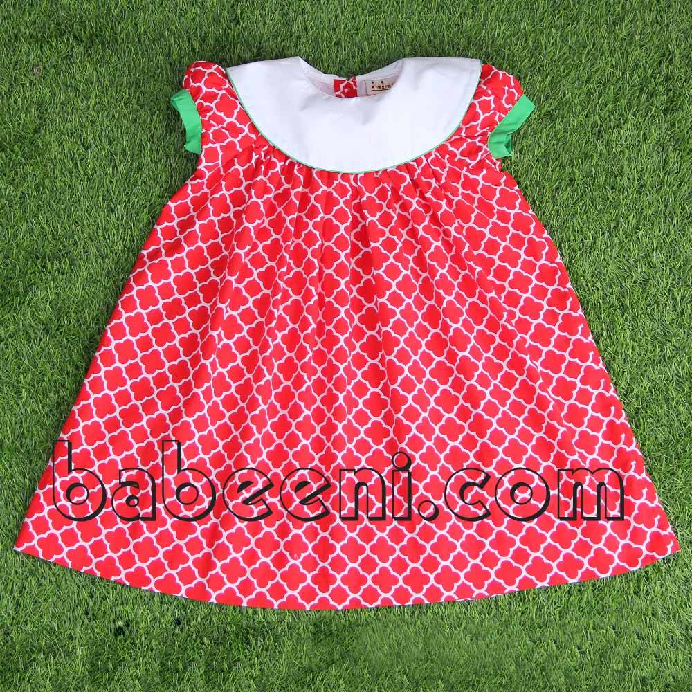 Red quatrefoil bishop dress for little girl - DR 2164